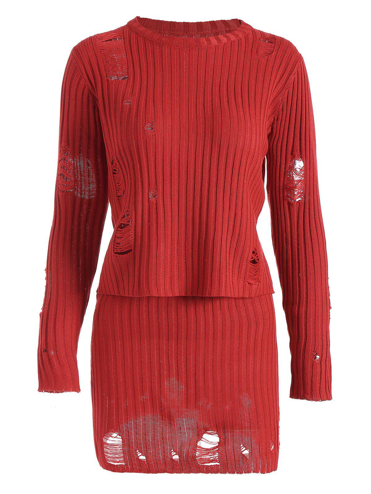 Ripped Ribbed Knitwear with Knit Pencil Skirt - RED S
