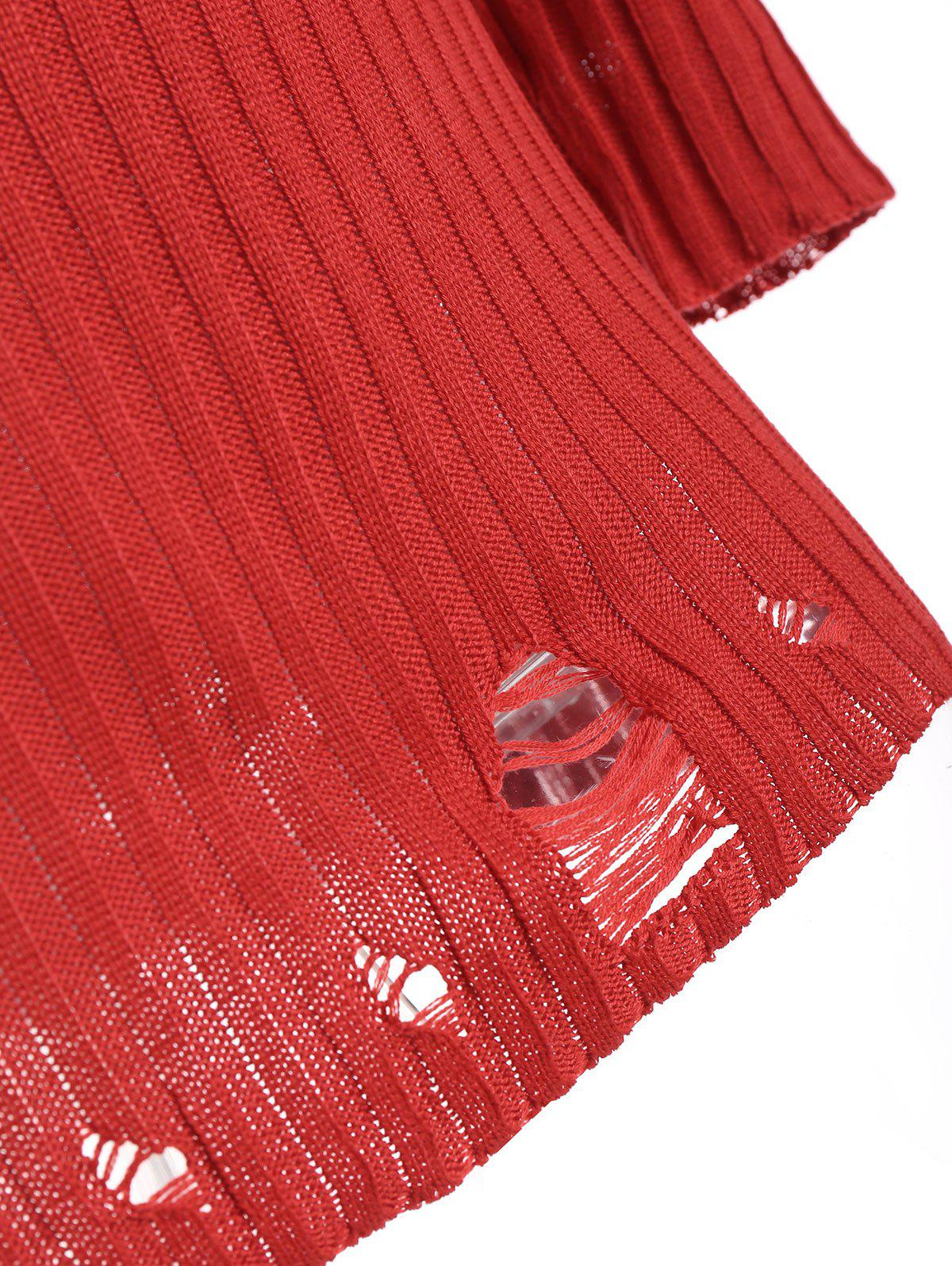 Ripped Ribbed Knitwear with Knit Pencil Skirt - RED XL