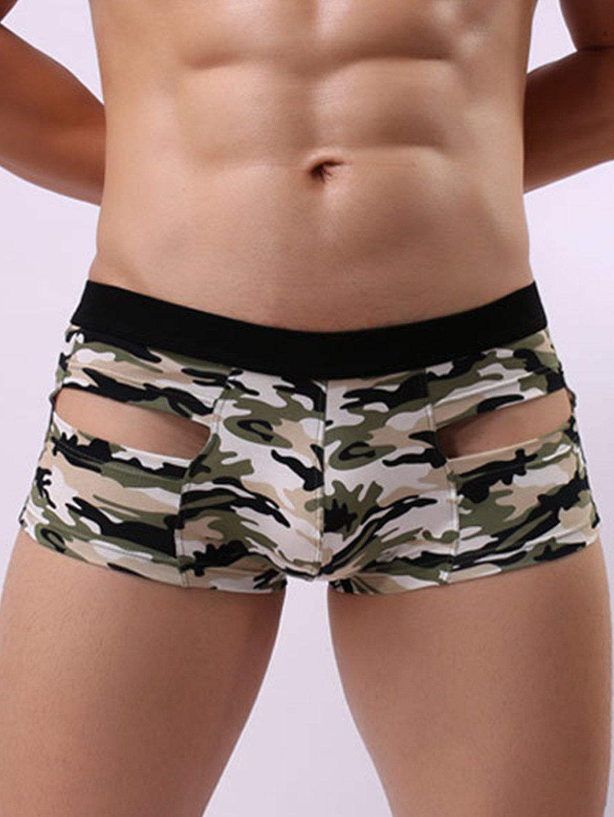 Camouflage Hollow Convex Pouch Trunk - GREEN XL