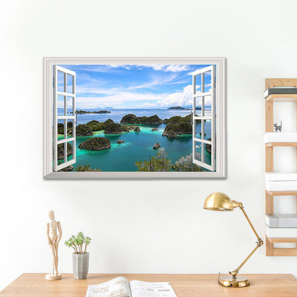 Faux Window 3D Island View Wall Art Sticker horse in the sunset window view removable wall sticker