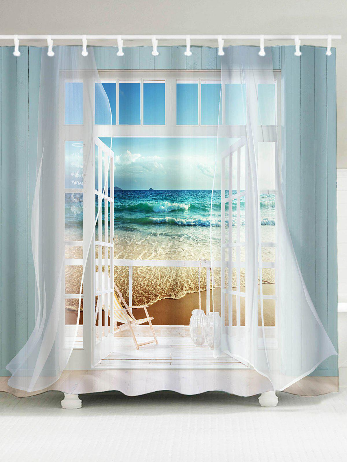 Window Frame Ocean Scene Printing Shower Curtain - COLORMIX W59 INCH * L71 INCH