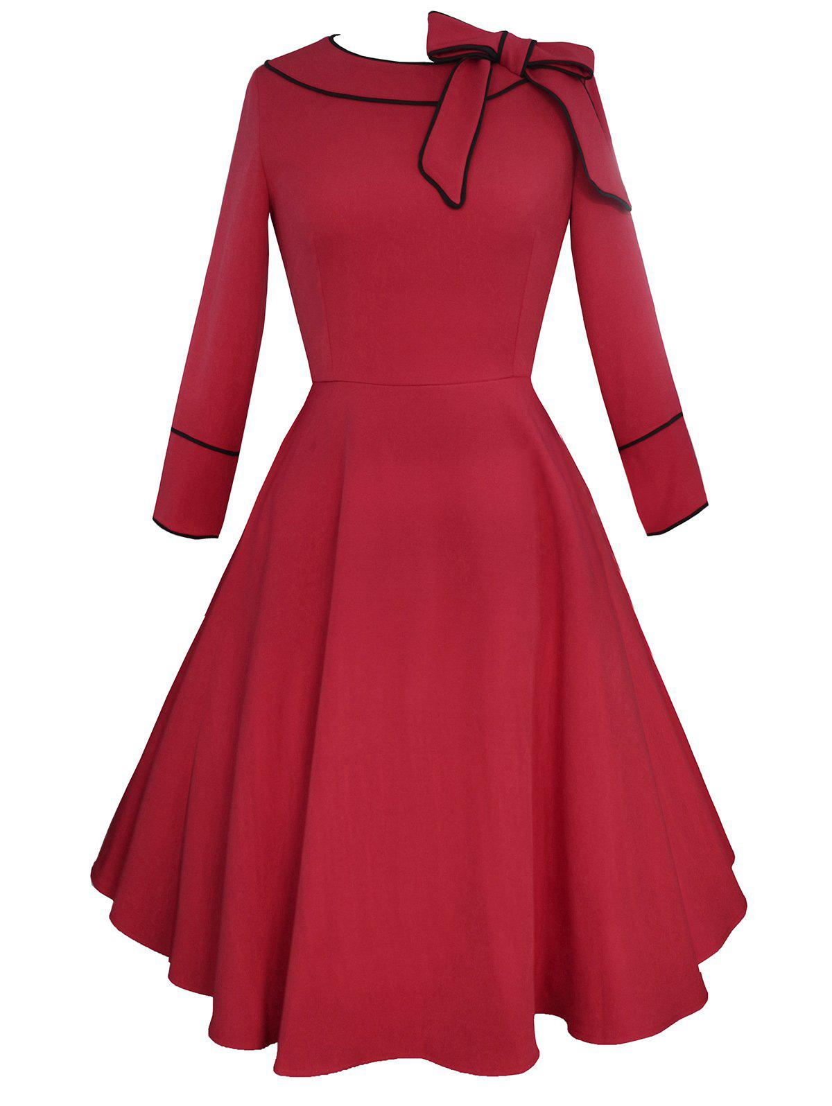 цены Vintage Bowknot A Line Knee Length Dress