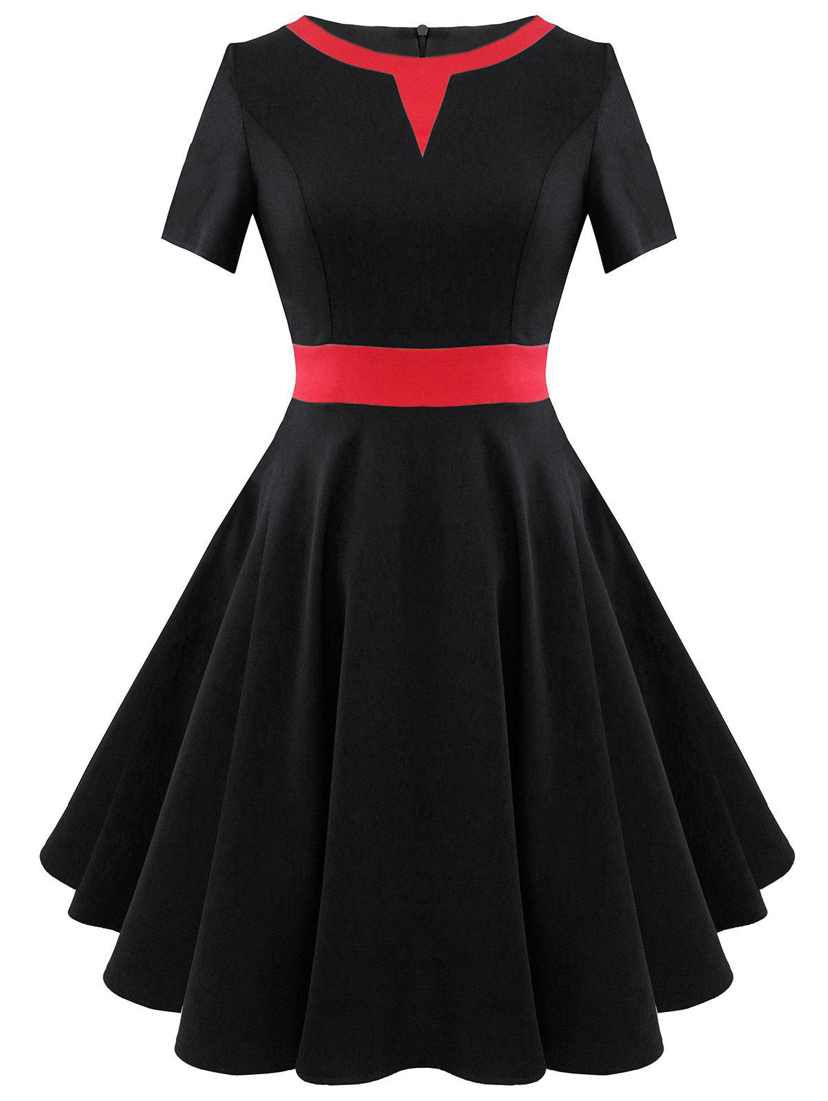 Two Tone Vintage A Line Dress - BLACK S