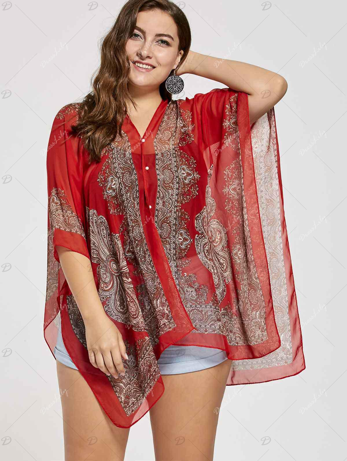 Printed Beaded Plus Size Chiffon Poncho Top - RED ORANGE ONE SIZE
