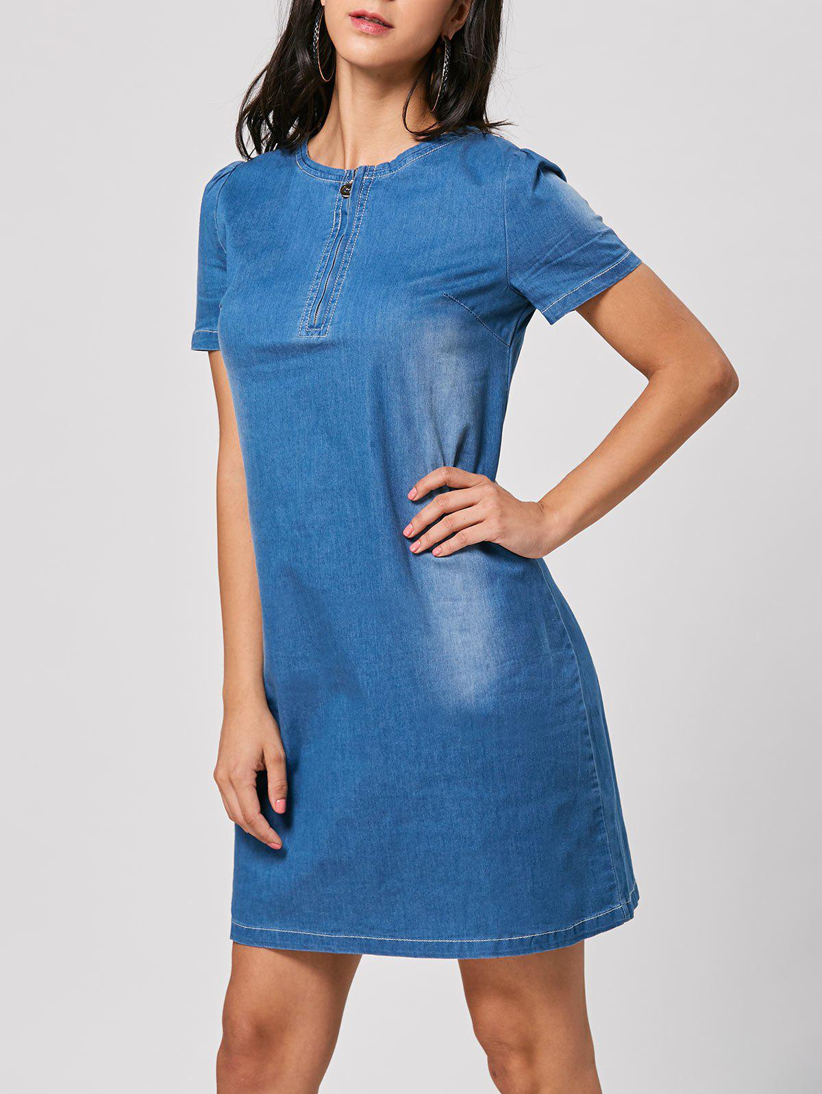 Denim Shift Dress - LIGHT BLUE S