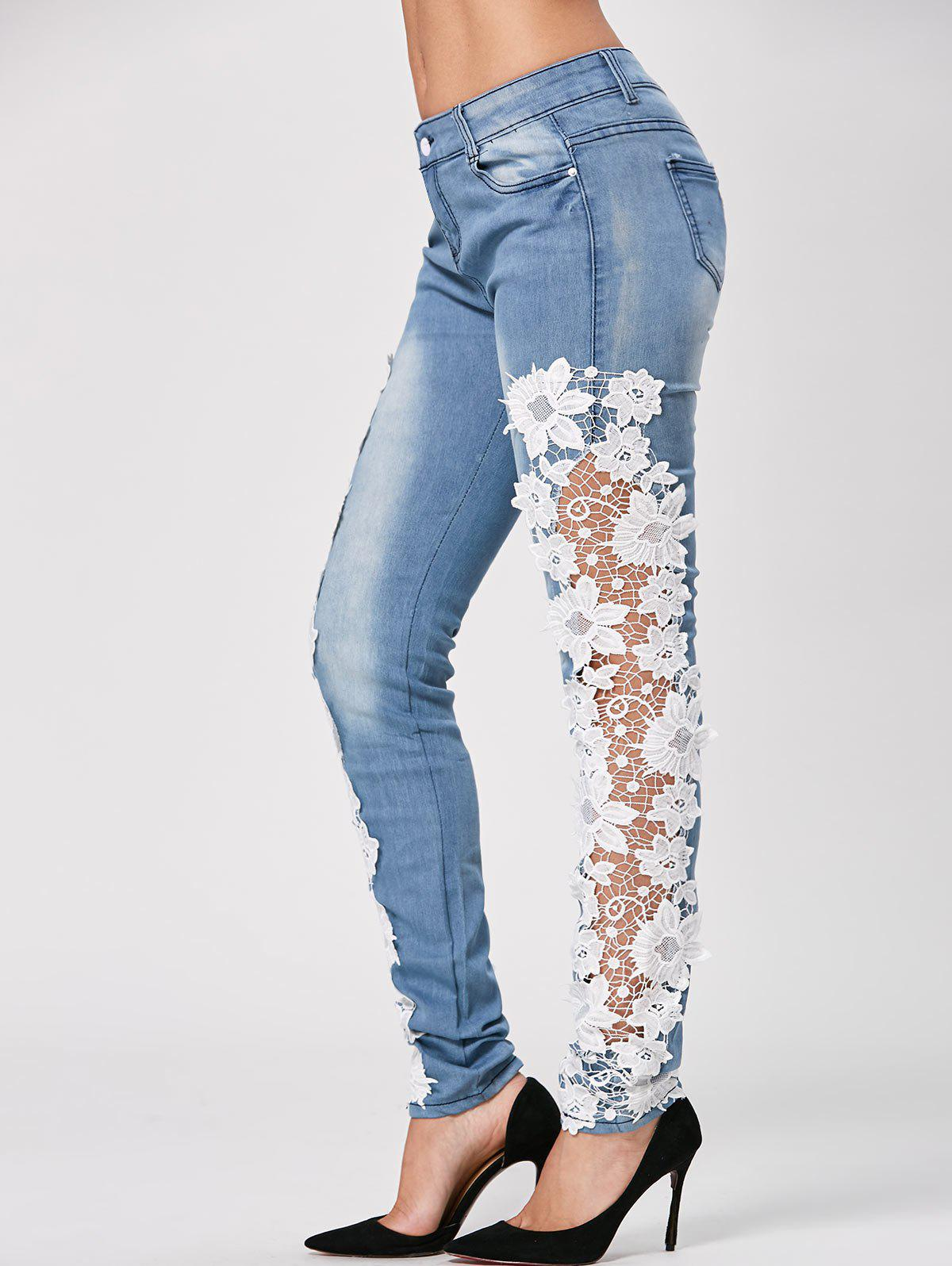 Bleach Wash Lace Trim Ankle Skinny Jeans