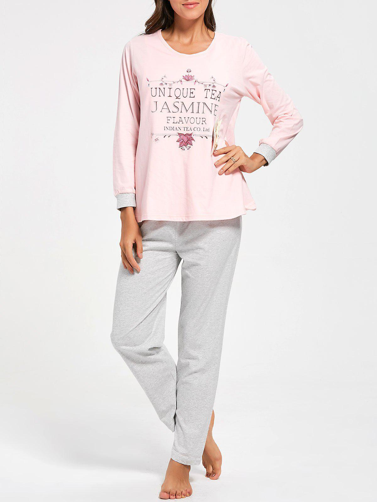 Cotton Printed Nursing Loungewear Set - LIGHT PINK L