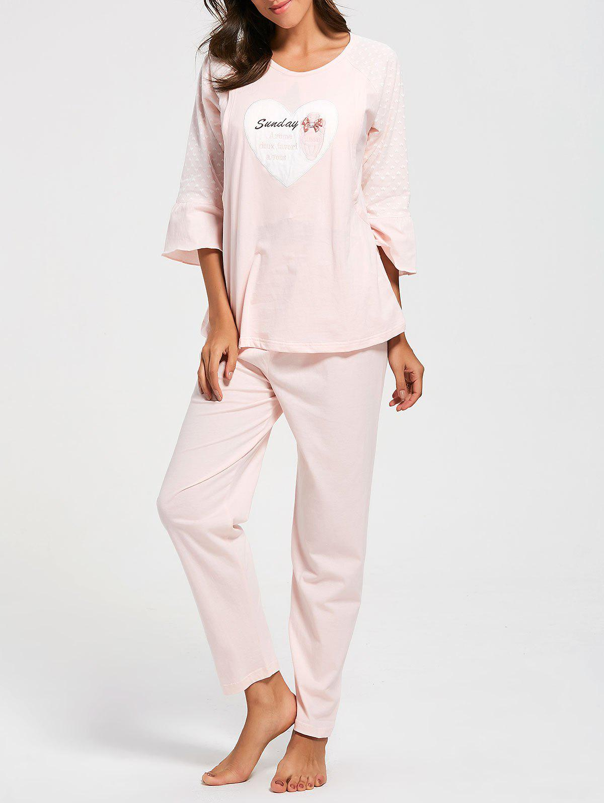 Mesh Insert Cotton Nursing Pajamas Set - LIGHT PINK XL