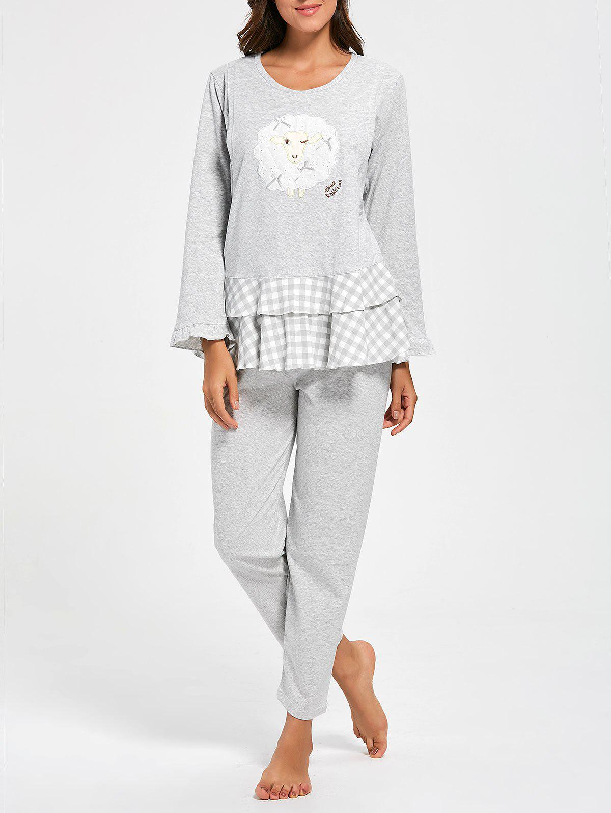 Flounce Plaid Cotton Nursing Loungewear Set - Gris XL