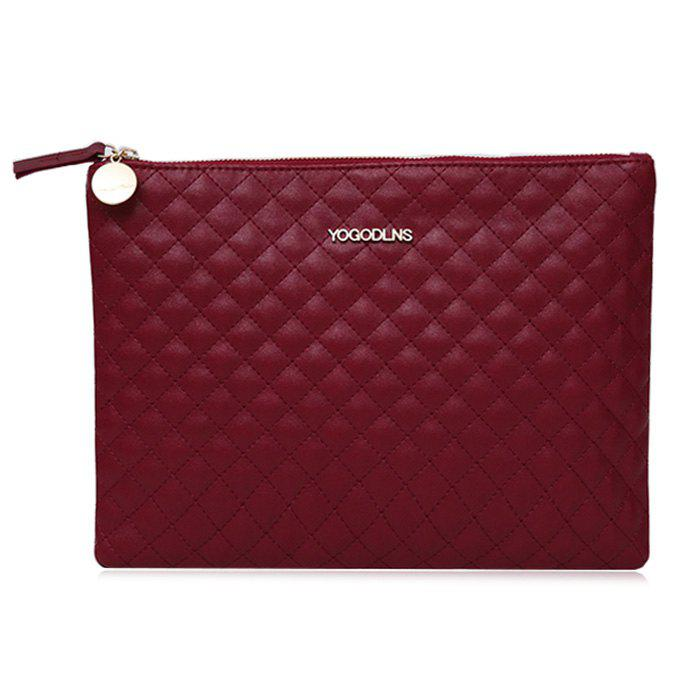 Quilted Faux Leather Clutch Bag - WINE RED