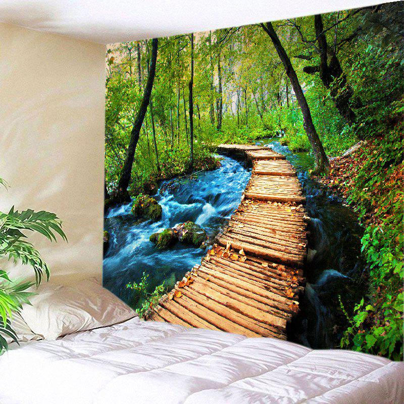 Forest Streams Path Print Tapestry Wall Hanging Art forest wooden bridge print tapestry wall hanging art