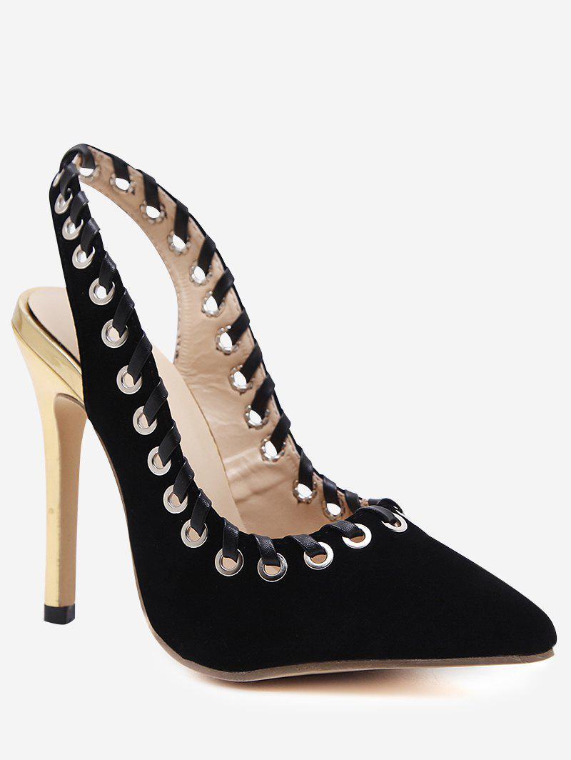 Grommet Pointed Toe Slingback Stiletto Heel Pumps - BLACK 38
