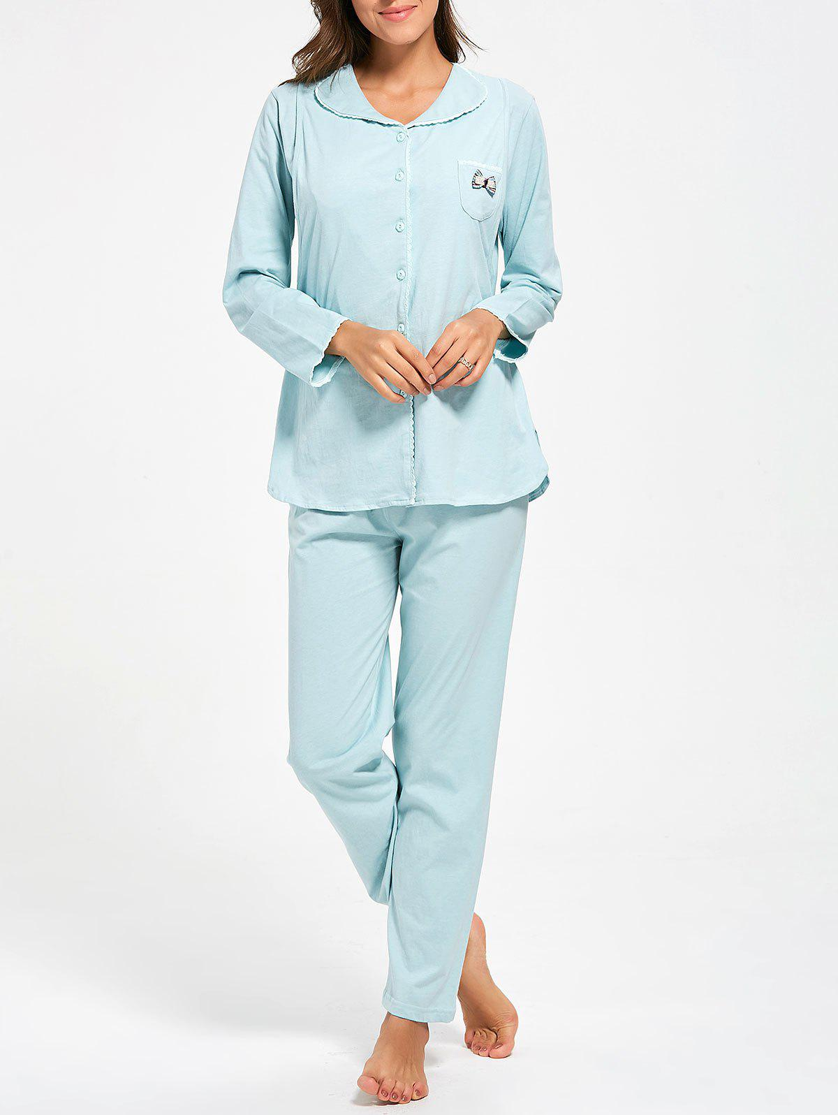 Cotton Button Up Nursing Pajamas Set - LIGHT BLUE M