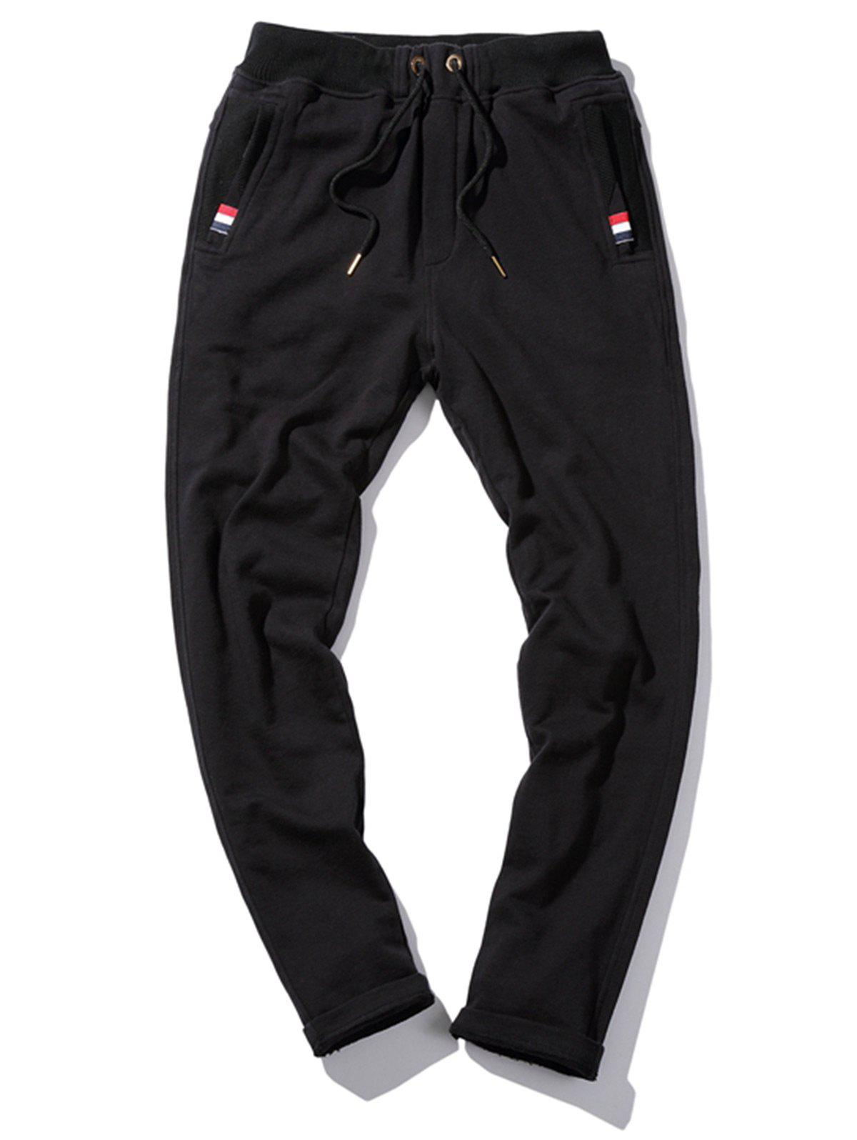 Drawstring Waist Stripe Detail Sweatpants - BLACK 4XL