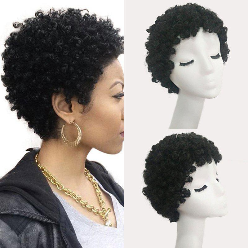 Short Curled Human Hair Wig - JET BLACK