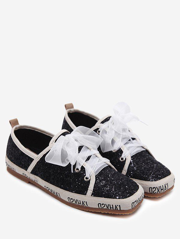 Ribbon Lace Up Sequined Sneakers - BLACK 38