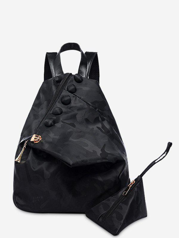 Camouflage Pattern Nylon Backpack - BLACK