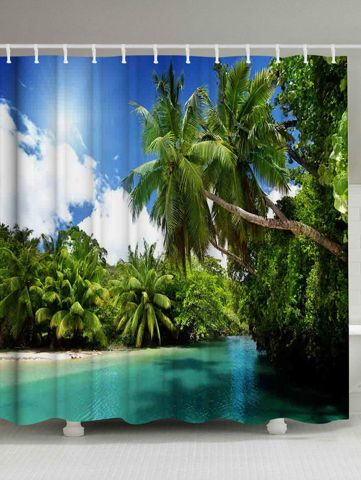 Palm Trees River Print Fabric Bathroom Shower Curtain bamboo trees waterproof shower curtain