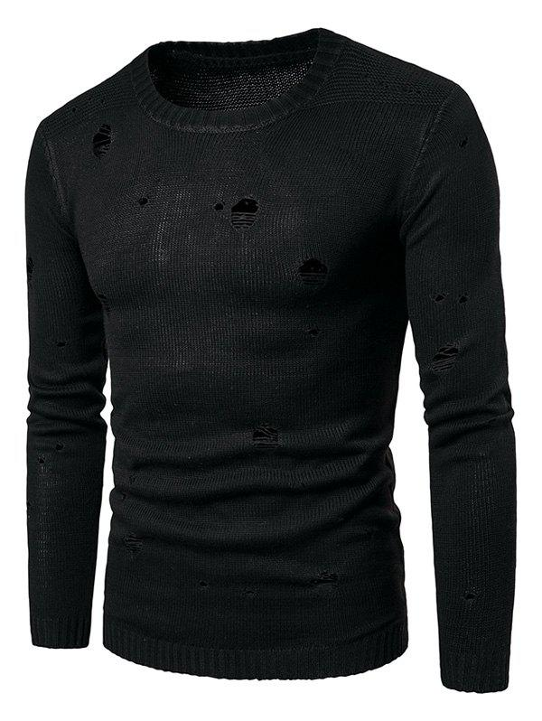 Long Sleeve Knit Blends Distressed Sweater цена 2017