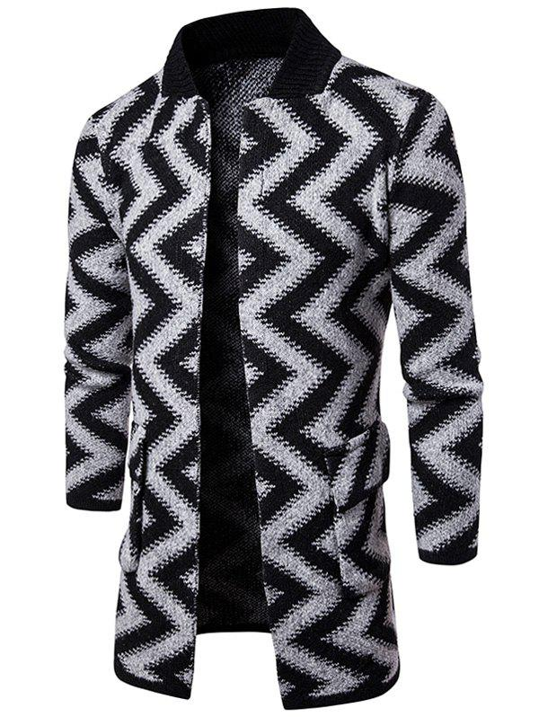 Open Front Chevron Stripe Slub Knit Tall Coat - LIGHT GRAY 2XL