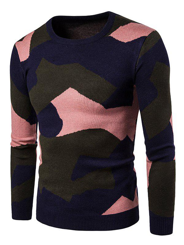 Colorful Camouflage Pattern Pullover Sweater christmas pullover sweater with cartoon ornamentation pattern
