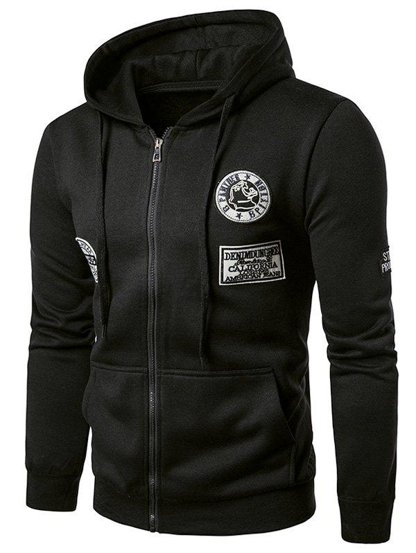 Embroidered applique zip up fleece hoodie black m in