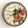 Butterfly Floral Wood Round Analog Wall Clock - GINGER 50*50CM
