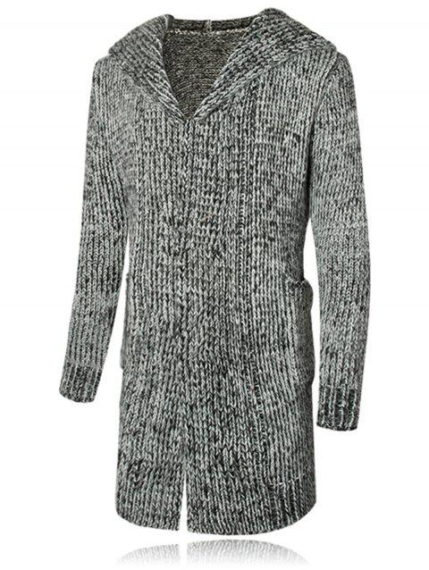 Heathered Hooded Open Front Cardigan - GRAY M