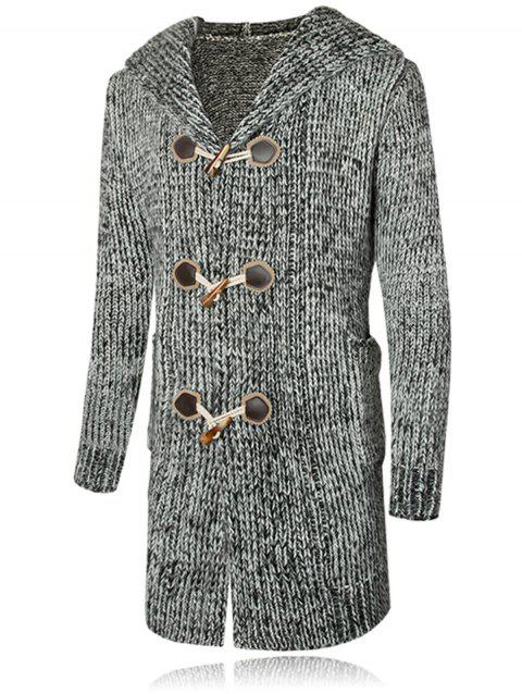Heathered Claw Button Hooded Cardigan - GRAY M