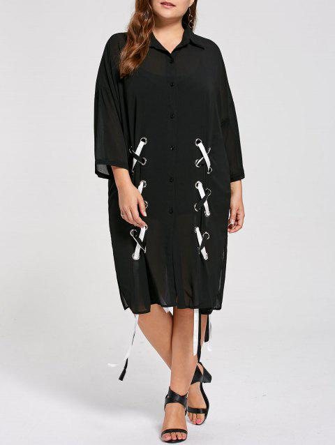 14ab8bacd7d 2019 Sheer Plus Size Chiffon Lace Up Shirt Dress In BLACK ONE SIZE ...