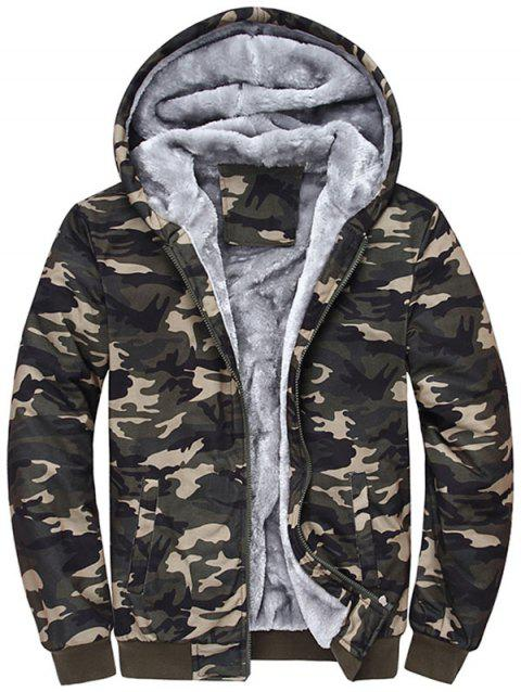 Zip Up Camouflage Hooded Flocking Jacket - CAMOUFLAGE 4XL
