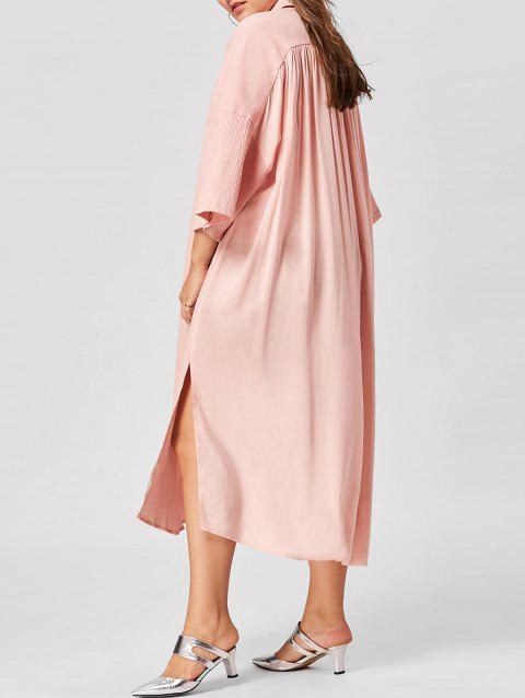 Plus Size Flare Sleeve Shirt Dress - NUDE PINK 3XL