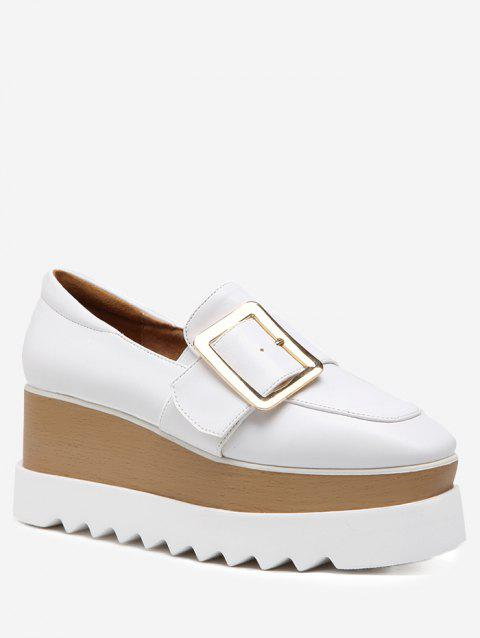 Buckled Faux Leather Platform Shoes - WHITE 38