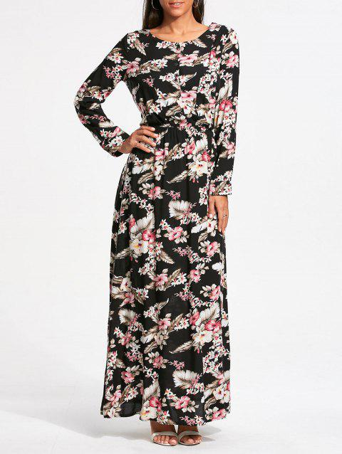 79dd60461e71 Long Sleeve Tiny Floral Printed Maxi Dress - COLORMIX M · Tiny Floral V Neck  ...