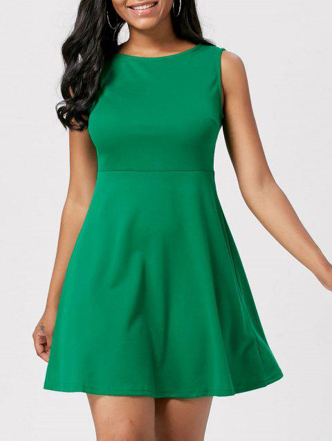 Mini High Waist A Line Skater Dress - GREEN S