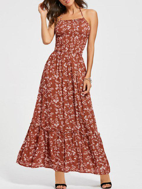 Back Lace Up Floral Maxi Halter Sundress - RED M