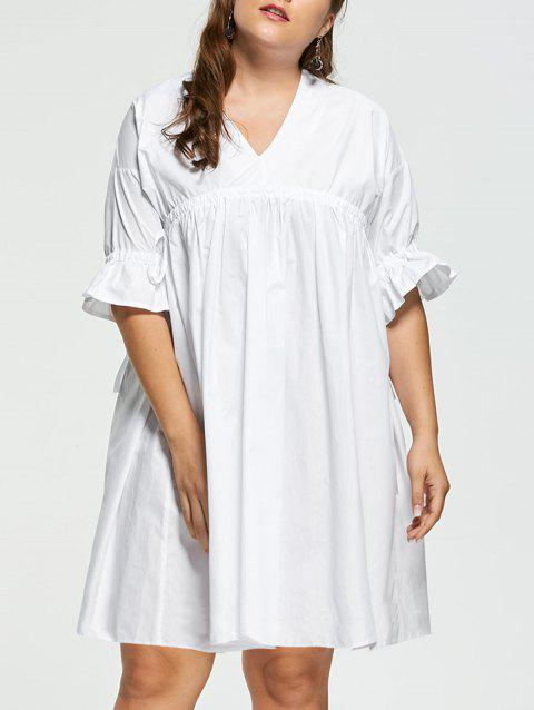 2018 Plus Size Flare Sleeve Babydoll Dress White Xl In Dresses 2018