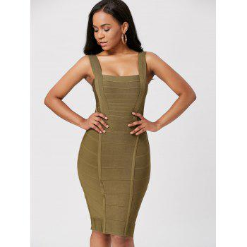 Criss Cross Back Night Out Bandage Dress - GREEN GREEN