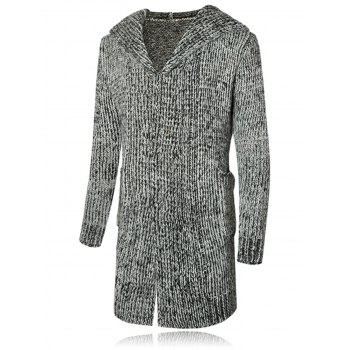 Heathered Hooded Open Front Cardigan