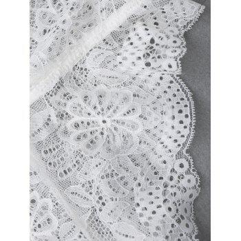 Off The Shoulder See Through Lace Teddy - WHITE M