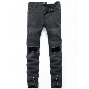 Hollow Zippers Design Straight Leg Ripped Jeans