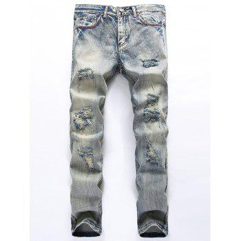 Blends Wash Straight Leg Ripped Jeans