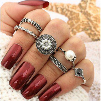 Faux Pearl Round Vintage Finger Ring Set