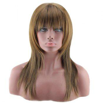 Long Full Bang Layered Straight Colormix Synthetic Wig