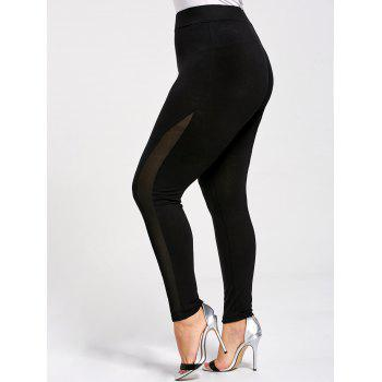 Skinny Plus Size Mesh Panel Leggings