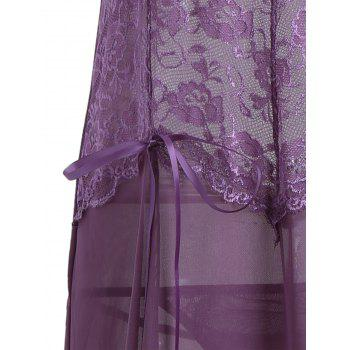 See Through Mesh Cami Dress with Lace - PURPLE M