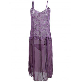See Through Mesh Cami Dress with Lace - PURPLE L