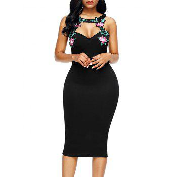 Floral Patched Pencil Dress - BLACK M