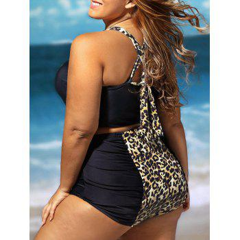 Cross Back Leopard Plus Size Bikini Set - Noir Léopard Imprinte 2XL