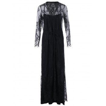 Sheer Lace Up Long Sleeve Maxi Dress